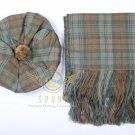 Scottish Black Watch Weathered Tam o'Shanter Flat Bonnet Hat With Scarf 100%Acrylic Tartan