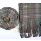 Scottish Makenzie Weathered Tam o'Shanter Flat Bonnet Hat With Scarf 100%Acrylic Tartan
