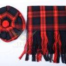 Scottish Maclachlan Tam o'Shanter Flat Bonnet Hat With Scarf 100%Acrylic Tartan