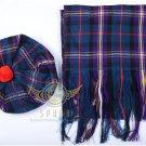 Scottish Masonic Tam o'Shanter Flat Bonnet Hat With Scarf 100%Acrylic Tartan