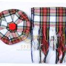 Scottish Dress Stewart Tam o'Shanter Flat Bonnet Hat With Scarf 100%Acrylic Tartan