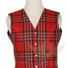 Men's Scottish Royal Stewart VEST 5 Buttons Vest Acrylic Tartan Vest - Wedding Vest