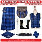 Men's Scottish Traditional 8 Yard Kilt Ramsey Blue TARTAN KILTS Package - 9 Accessories  - Size 56