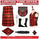 Men's Scottish Traditional 8 Yard Kilt Wallace TARTAN KILTS Package - 9 Accessories