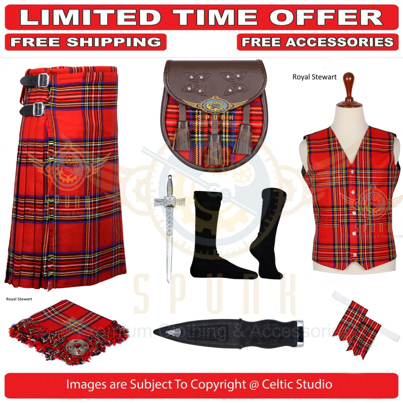 Men's Scottish Traditional Royal Stewart 8 Yard Kilt TARTAN KILTS Package - 9 Accessories