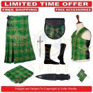 Men's Scottish Traditional 8 Yard Kilt Irish TARTAN KILTS Package - 9 Accessories