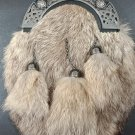 Scottish Full Dress Rabbit Fur KILT SPORRAN - Leather Sporran -With Free Belt & Chain