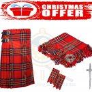 Men's Christmas Scottish Traditional Royal Stewart 8 Yard Kilt Deal Set