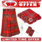 Men's Christmas Scottish Traditional Royal Stewart Tartan Utility Kilt Deal Set