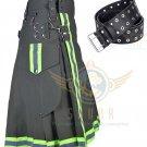 Men's kilt Fire fighter Olive Green Kilt Highly Visible Reflector Utility Kilt & Kilt Belt