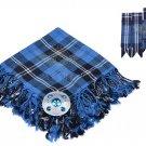 Scottish Traditional Ramsey Blue Hunting Tartan Kilt FLYPLAID + Brooch & Flashes- Flyplaid 48 X 48
