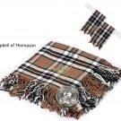 Scottish Traditional Campbell Of Thompson Tartan Kilt FLYPLAID + Brooch & Flashes- Flyplaid 48 X 48