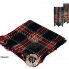 Scottish Traditional Black Stewart Tartan Kilt FLYPLAID + Brooch & Flashes- Flyplaid 48 X 48
