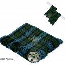 Scottish Traditional Campbell Ancient Tartan Kilt FLYPLAID + Brooch & Flashes- Flyplaid 48 X 48