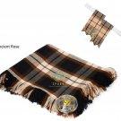 Scottish Traditional Rose Ancient Tartan Kilt FLYPLAID + Brooch & Flashes- Flyplaid 48 X 48