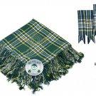 Scottish Traditional  St-Patrick Tartan Kilt FLY PLAID + Brooch - Flashes - Kilt pin