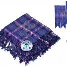 Scottish Traditional  Masonic Tartan Kilt FLY PLAID + Brooch - Flashes - Kilt pin