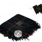 Scottish Traditional Gunn Tartan Kilt FLY PLAID + Brooch - Flashes - Kilt pin