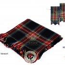 Scottish Traditional Black Stewart Tartan Kilt FLY PLAID + Brooch - Flashes - Kilt pin