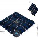 Scottish Traditional Blue Douglas Tartan Kilt FLY PLAID + Brooch - Flashes - Kilt pin