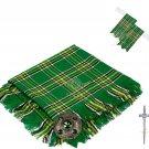 Scottish Traditional Irish Tartan Kilt FLY PLAID + Brooch - Flashes - Kilt pin