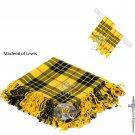 Scottish Traditional MacLeod of Lewis Tartan Kilt FLY PLAID + Brooch - Flashes - Kilt pin