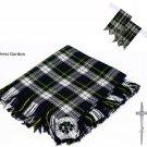 Scottish Traditional Dress Gordon Tartan Kilt FLY PLAID + Brooch - Flashes - Kilt pin
