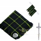 Scottish Traditional Gordon Tartan Kilt FLY PLAID + Brooch - Flashes - Kilt pin