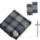 Scottish Traditional Hamilton Grey Tartan Kilt FLY PLAID + Brooch - Flashes - Kilt pin