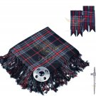 Scottish Traditional Spirit of Bruce Tartan Kilt FLY PLAID + Brooch - Flashes - Kilt pin