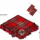 Scottish Traditional  Royal Stewart Tartan Kilt FLY PLAID + Brooch - Flashes - Kilt pin