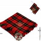 Scottish Traditional  Wallace Tartan Kilt FLY PLAID + Brooch - Flashes - Kilt pin
