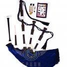BAGPIPE Highlander Scottish Blue Velvet Rosewood With Tutor Book Carry Bag Practice Chanter