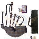 BAGPIPES Highlander Scottish Black Watch Weathered Rosewood With Carry Bag Practice Chanter