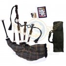 BAGPIPES Highlander Scottish Mackenzie Weathered Rosewood With Tutor Book Carry Bag Practice Chanter