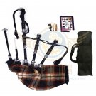 BAGPIPES Highlander Scottish Rose Ancient Rosewood With Tutor Book Carry Bag Practice Chanter