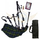 BAGPIPES Highlander Scottish US Army Rosewood With Tutor Book Carry Bag Practice Chanter