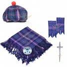 Scottish Traditional Masonic Tartan Kilt FLY PLAID + Brooch- Flashes - Kilt pin -Tam Hat