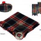 Scottish Traditional Black Stewart Tartan Kilt FLY PLAID + Brooch- Flashes - Kilt pin -Tam Hat