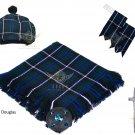 Scottish Traditional Blue Douglas Tartan Kilt FLY PLAID + Brooch- Flashes - Kilt pin -Tam Hat