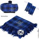 Scottish Ramsey Blue Tartan Kilt FLY PLAID + Brooch- Flashes - Kilt pin -Tam Hat