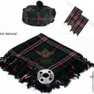Scottish Scottish National Tartan Kilt FLY PLAID + Brooch- Flashes - Kilt pin -Tam Hat