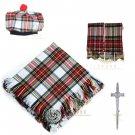 Scottish Dress Stewart Tartan Kilt FLY PLAID + Brooch- Flashes - Kilt pin -Tam Hat