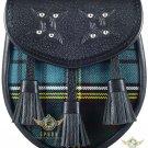 Premium - Black Leather -Clan Anderson Tartan -Scottish DAY SPORRAN Chain Strap