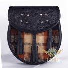 Premium - Black Leather -Rose Ancient Tartan Scottish KILT SPORRAN Chain Strap