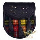 Premium - Black Leather - Buchanan Tartan Scottish KILT SPORRAN Chain Strap