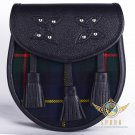 Premium - Black Leather - Macleod of Harris Tartan Scottish KILT SPORRAN Chain Strap