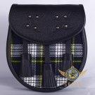 Premium - Black Leather - Dress Gordon Tartan Scottish KILT SPORRAN Chain Strap