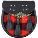 Premium - Black Leather - Macgregor Rob Roy Tartan Scottish KILT SPORRAN Chain Strap