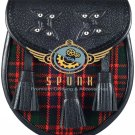 Premium - Black Leather - MacDonald Tartan Scottish KILT SPORRAN Chain Strap